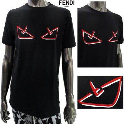 フェンディ(FENDI) メンズ フロントバッグバグズプリントカットソー ロゴ  黒 FY0894 A6ZG F0QA1  91S