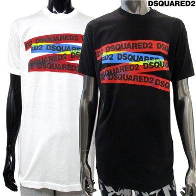 ディースクエアード(DSQUARED2) メンズ DSQUARED2テープロゴ入りカットソー 2color 白/黒 GD0740 S22427 100/900 GB91S