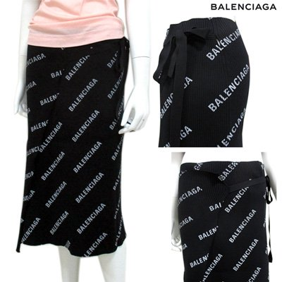 <img class='new_mark_img1' src='//img.shop-pro.jp/img/new/icons15.gif' style='border:none;display:inline;margin:0px;padding:0px;width:auto;' />バレンシアガ(BALENCIAGA) レディース 総柄ロゴ入り・巻きスカート スモールロゴ 総柄 黒 555320 T6140 1640 GB91S