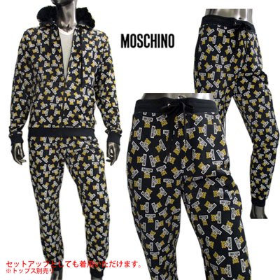 <img class='new_mark_img1' src='//img.shop-pro.jp/img/new/icons15.gif' style='border:none;display:inline;margin:0px;padding:0px;width:auto;' /> モスキーノ(MOSCHINO) メンズ 総柄MOSCHINOベアープリントイージーパンツ SETUP着用可(トップス別売り) 4204 8128 1555 91S