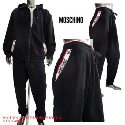 <img class='new_mark_img1' src='//img.shop-pro.jp/img/new/icons15.gif' style='border:none;display:inline;margin:0px;padding:0px;width:auto;' /> モスキーノ(MOSCHINO) メンズ ポケットロゴ・バックロゴイージーパンツ SETUP着用可(トップス別売り)黒 4208 8127 555 91S