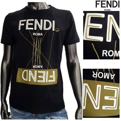 フェンディ(FENDI)メンズ ブランドロゴアナグラムTシャツ ロゴ 逆さロゴ 悪魔 FIEND 愛 AMOR 半袖 黒 FY0894 A6ZL F0B81 91S