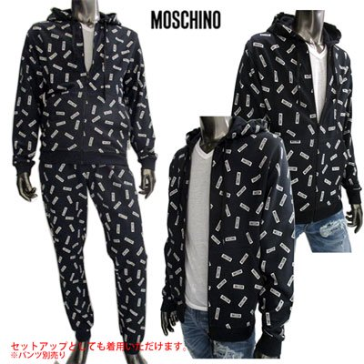 <img class='new_mark_img1' src='https://img.shop-pro.jp/img/new/icons15.gif' style='border:none;display:inline;margin:0px;padding:0px;width:auto;' /> 2019SS モスキーノ(MOSCHINO) メンズ 総柄スモールロゴパーカー SETUP着用可(ボトムス別売り)黒 白 1704 8124 1555 91S