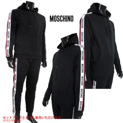 <img class='new_mark_img1' src='https://img.shop-pro.jp/img/new/icons15.gif' style='border:none;display:inline;margin:0px;padding:0px;width:auto;' /> 2019SS モスキーノ(MOSCHINO) メンズ スリーブロゴ・フード裏ロゴパーカー SETUP着用可(パンツ別売り) 黒 1708 8127 555 91S