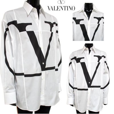 ヴァレンティノ(VALENTINO) メンズ フロントVロゴコットンシャツ Vロゴ ヴァレンチノ白 黒 RV0AB00H NBD 001 GB91S
