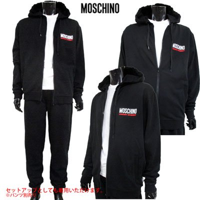 <img class='new_mark_img1' src='//img.shop-pro.jp/img/new/icons10.gif' style='border:none;display:inline;margin:0px;padding:0px;width:auto;' /> モスキーノ(MOSCHINO) メンズ フロントロゴパーカー ロゴ SETUP着用可(ボトムス別売り) ブラック 黒 1702 8129 555 91S