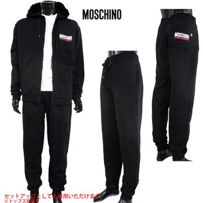 <img class='new_mark_img1' src='//img.shop-pro.jp/img/new/icons15.gif' style='border:none;display:inline;margin:0px;padding:0px;width:auto;' /> モスキーノ(MOSCHINO) メンズ バックポケットロゴイージーパンツ SETUP着用可(トップス別売り)  黒 4205 8129 555 91S