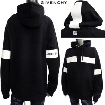<img class='new_mark_img1' src='https://img.shop-pro.jp/img/new/icons15.gif' style='border:none;display:inline;margin:0px;padding:0px;width:auto;' /> ジバンシー(GIVENCHY) メンズ 逆さロゴ・バックロゴライン入りフーディー ロゴ フーディー 黒  BM70HH 30AF 001 91S