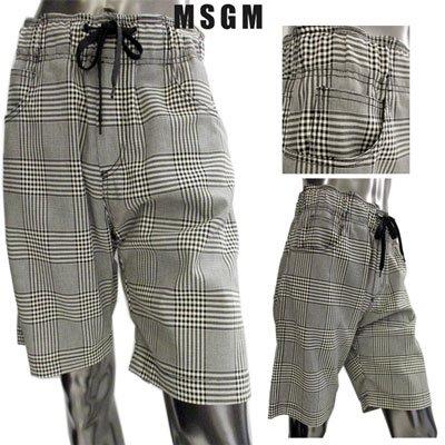 エムエスジーエム(MSGM) メンズ グレンチェック柄ハーフパンツ グレンチェック柄 黒 白 2640MB11 195022 99 91S