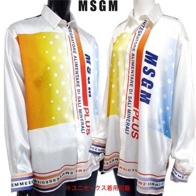 エムエスジーエム(MSGM) メンズ マルチロゴ入りサテンシャツ ユニセックス着用可 マルチカラー 2640ME12D 195033 01 91S