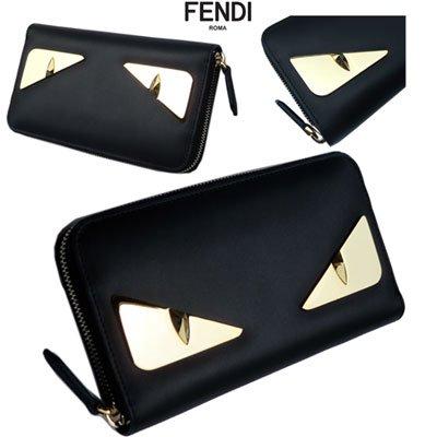 フェンディ(FENDI) ユニセックス バッグバグズメタルプレート付ウォレット ユニセックス可能 カーフレザー 黒 金 7M0210 SQP F0KUR 91S