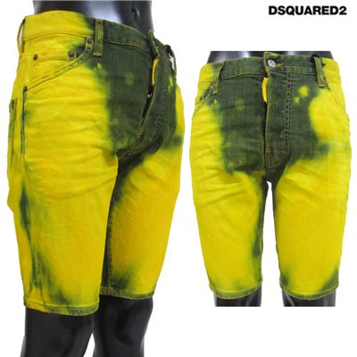 ディースクエアード(DSQUARED2) メンズ ムラ染め加工ハーフパンツ ロゴ ムラ染め 黄色 S74MU0521 S30342 968 91S