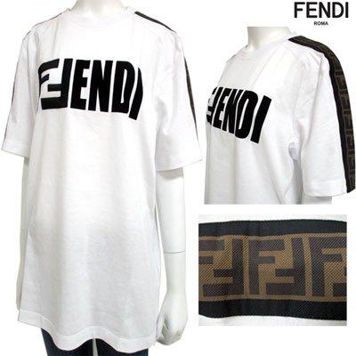 フェンディ(FENDI) レディース フロントロゴ・ズッカ柄カットソー ロゴ サイドスリット 白 FS7088 A5HQ F0ZNM 91S