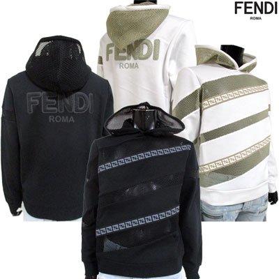 フェンディ(FENDI) メンズ ズッカ柄・バックロゴ付メッシュ加工パーカー 2color ズッカ柄 白/黒 FY0941 A6Z5 F0UBY/F0QA1 91S