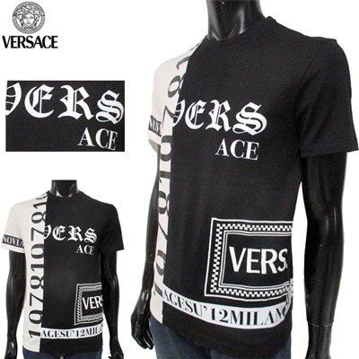 ヴェルサーチ VERSACE Tシャツ 半袖 トップス ブランドロゴ クルーネック黒 白 A82372 A2245589 A911 GB91S
