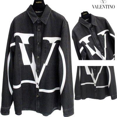 ヴァレンティノ(VALENTINO) メンズ フロントVロゴブラックデニムシャツ ロゴ  ヴァレンチノ ブラック RV0DB00G MCR 0NI  GB91S