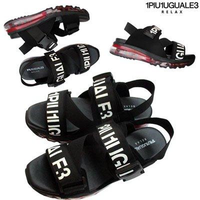 ウノ ピゥ(1PIU1UGUALE3 RELAX) メンズ ロゴ入りエアーソールサンダル ブラック レッド 黒 赤 USZ906 SA40 RED SF91S