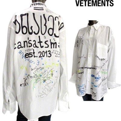 ヴェトモン(VETEMENTS) メンズ マルチペイントオーバーサイズシャツ ペイント ユニセックス着用可 白  USS196002 WHITE GB91S