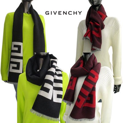 <img class='new_mark_img1' src='//img.shop-pro.jp/img/new/icons15.gif' style='border:none;display:inline;margin:0px;padding:0px;width:auto;' /> ジバンシー(GIVENCHY) レディース 4Gデカロゴバイカラーウールマフラー 2color 4Gロゴ ユニセックス着用可 黒/赤 3518GVJ 1758 1/4 91A