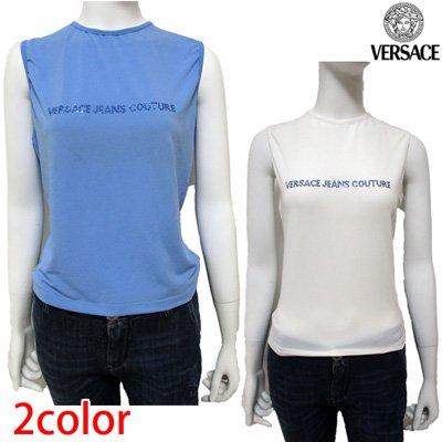 ヴェルサーチ Tシャツ レディース ブランドロゴ ラインストーン  2color 白 青 FV6746 14753 613 / 001【送料無料】7S