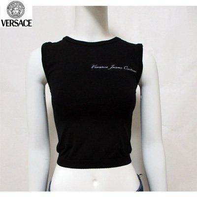 ヴェルサーチ(Versace) Tシャツ トップス レディース ラウンドネック ブランドロゴ へそ出し ブラック 黒  FV6701 82032 900 【送料無料】 7S