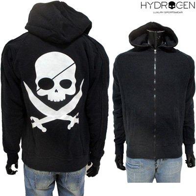 ハイドロゲン(HYDROGEN) パーカー メンズ トップス フーディ 海賊 スカル ジップアップ パイレーツ ブラック 黒 0B40000 F5 【送料無料】 GB11A