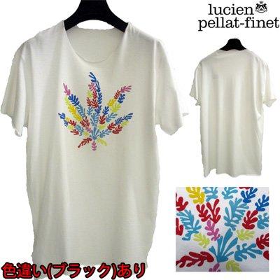 ルシアンペラフィネ(lucien pellat-finet) Tシャツ メンズ 半袖 ヘンプ トップス 色違い(ブラック)あり リーフ ホワイト 白 EVH1084 WH 【送料無料】 WA13S