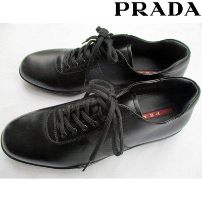 プラダ(PRADA) 【サイズ7.5】【日本サイズ26.5】 靴 スニーカー メンズ レザー シューズ ブランドロゴ ブラック 黒  4E1282 LOC/LUX NERO 【送料無料】 7S