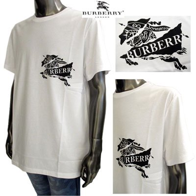 バーバリー(BURBERRY)メンズ チェストEquestrian Knightロゴプリントカットソー 8007014 A1464 WHITE