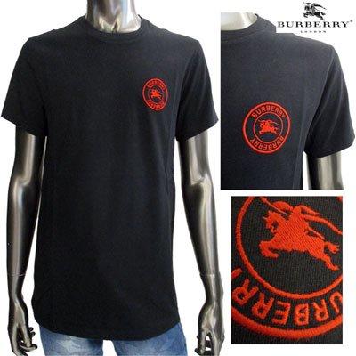 バーバリー(BURBERRY)メンズ Tシャツ チェストEquestrian Knightロゴ刺繍カットソー8007814 A1189 BLACK