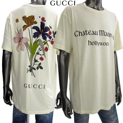 <img class='new_mark_img1' src='https://img.shop-pro.jp/img/new/icons15.gif' style='border:none;display:inline;margin:0px;padding:0px;width:auto;' /> グッチ(GUCCI)メンズ Tシャツ ランゲージプリント・バックフラワープリントカットソー 昆虫 493117 XJAN5 7263