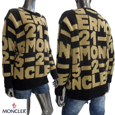 <img class='new_mark_img1' src='https://img.shop-pro.jp/img/new/icons15.gif' style='border:none;display:inline;margin:0px;padding:0px;width:auto;' />MONCLER レディース モンクレール 総柄ロゴ入りニットセーター  ユニセックス着用可 9099100 A9030 999 91A