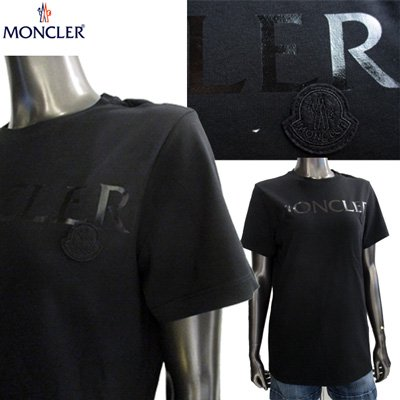 モンクレール レディース MONCLERロゴ・ロゴプリント入りコットンTシャツ 半袖 2色 黒 白 8091550 V8094 999/001 91A