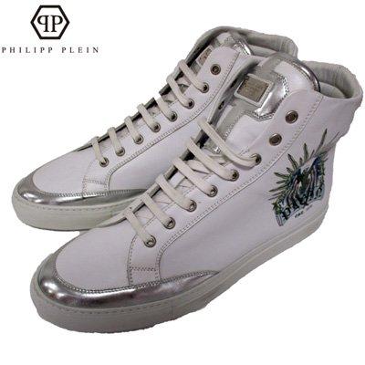 フィリッププレイン【サイズ43 日本サイズ28】スニーカー メンズ 紐靴 アメリカンイーグル スタッズ ブランドロゴ 白 銀 SM980009 01 WH 【送料無料】13A
