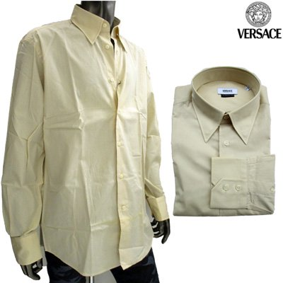 ヴェルサーチ Versace ワイシャツ 長袖 メンズ ドレスシャツ カッターシャツ 色違い(ライトグレー)あり ベージュ 黄色 GB11Y0 5Y300 272 7S