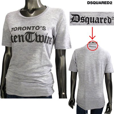ディースクエアード(DSQUARED2) Tシャツ レディース 半袖 トップス クルーネック グレー 灰色 S72GC0977 S22146 857M  71S