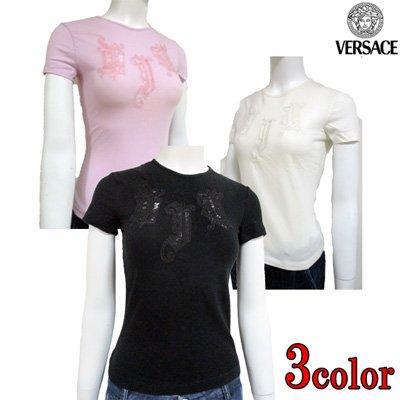 ヴェルサーチ(Versace) Tシャツ カットソー レディース 半袖 レース ロゴ 3color 白 黒 ピンク HV877B 26210 537 / 003 / 900 【送料無料】 4S