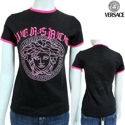 ヴェルサーチ(Versace) 【サイズS】Tシャツ 半袖 トップス レディース クルーネック メデューサ ブラック 黒 ピンク VLCD44 J203 F405 【送料無料】 4A