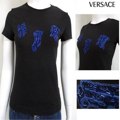 ヴェルサーチ VERSACE レディース フロントビジュー刺繍ロゴ入りカットソー ビジュー ロゴ 刺繍 カットソー ブラック ブルー GV87GB 14753XTU 0076 (R9800)  3A