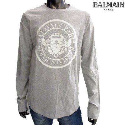 バルマン Tシャツ メンズ ロンT BALMAINメダリオンロゴプリント入り長袖Tシャツ グレー 灰色 SH11235 I109 9UB 【2019年秋冬新作】【送料無料】 91A