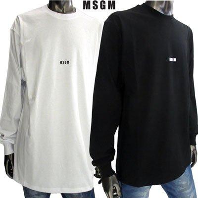 エムエスジーエム Tシャツ メンズ ロンT MSGMスモールロゴ付き長袖Tシャツ 2color 黒 白 2740MM160 195797 01/99【2019年秋冬新作】【送料無料】 91A