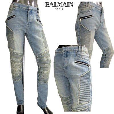 バルマン(BALMAIN) メンズ デニム バイカーパンツ ジップポケット付きマルチデザインバイカーパンツ ブルー SH15367 Z253 6AA (R158800)