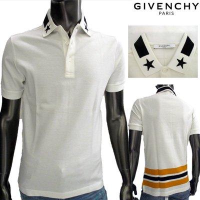 ジバンシー(GIVENCHY) メンズ 襟スターパッチ半袖ポロシャツ 色違い(黒)あり ホワイト 白 15S7104 702 100  【送料無料】 15S