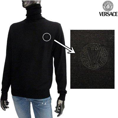 ヴェルサーチ【サイズXL】ウール100%のタートルニット メンズ 長袖 Versace ブラック 黒 VZKD0L 4U182 000 【送料無料】 6A