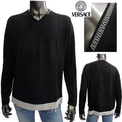 ヴェルサーチ 【サイズL】グレカ柄入りVネックニット メンズ 長袖 Versace ブラック 黒 SMCVOL 3S300 000 【送料無料】 7S