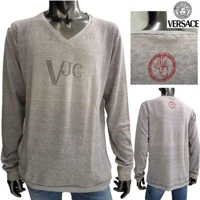ヴェルサーチ 【サイズXL】VJCロゴ入りVネックニット メンズ 長袖  Versace グレー 灰色 PV1813 81525 827 【送料無料】 7S