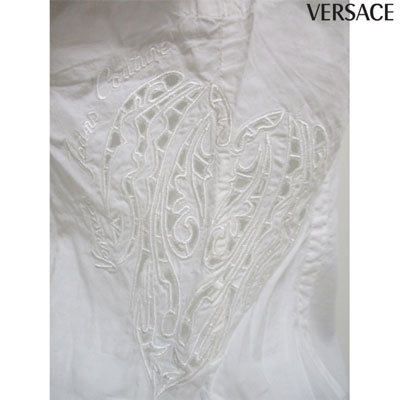 ヴェルサーチ VERSACE レディース サイド刺繍サイドスリット入り半袖シャツ FVM601 13410 001 XTU 00128 (R28800) 3S