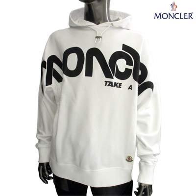 モンクレール(MONCLER) メンズ フーディー 長袖 ロゴ MONCLERロゴ・スモールロゴワッペン付きパーカー ホワイト 8049850 80985 001 (R136400)  GB91A