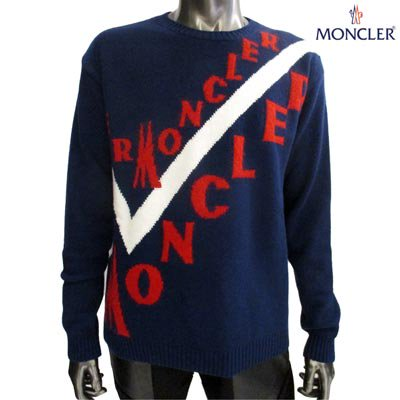 <img class='new_mark_img1' src='https://img.shop-pro.jp/img/new/icons1.gif' style='border:none;display:inline;margin:0px;padding:0px;width:auto;' />モンクレール(MONCLER) メンズ カシミヤ・モヘア混 MONCLERロゴ入りクルーネックニット ネイビー 9041600 A9046 780 (R119900)  GB91A