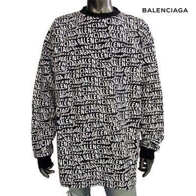<img class='new_mark_img1' src='//img.shop-pro.jp/img/new/icons1.gif' style='border:none;display:inline;margin:0px;padding:0px;width:auto;' />バレンシアガ(BALENCIAGA) メンズ ユニセックス着用可 総柄BALENCIAGAロゴクルーネックスウェト 黒 583113 TFV48 1070 (R84700) GB91A